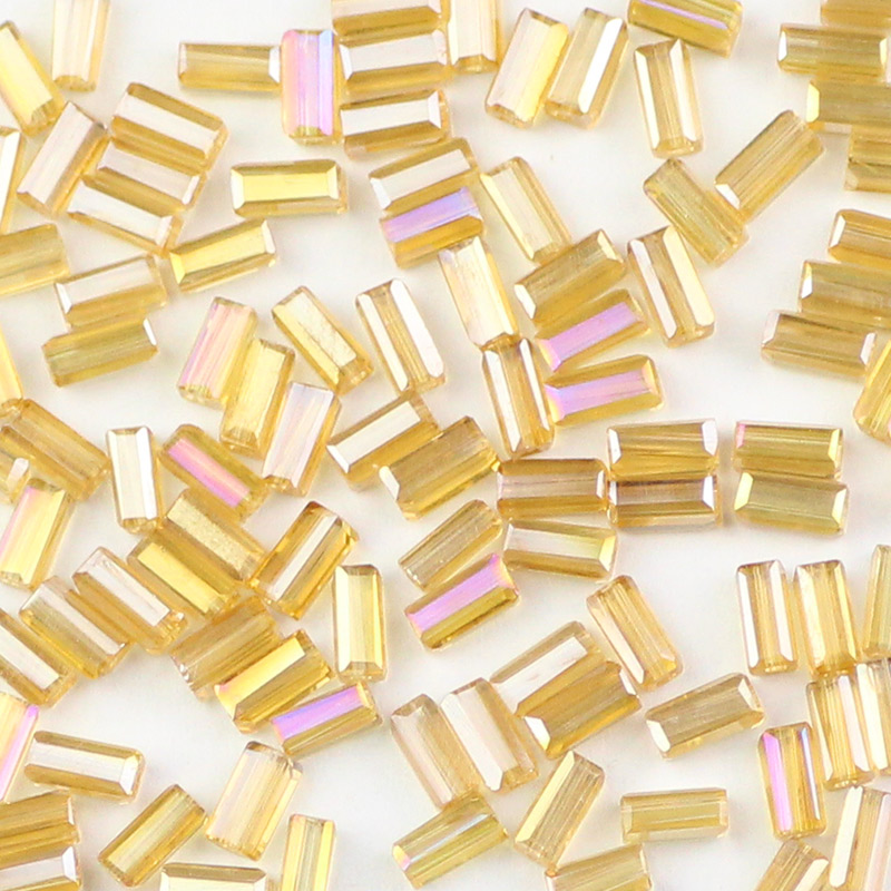 POOPLE <font><b>2X4mm</b></font> rectangle Austrian square Charm Crystal Glass curtain Beads 100pcs Loose Spacer Beads for Jewelry Making DIY Perles image