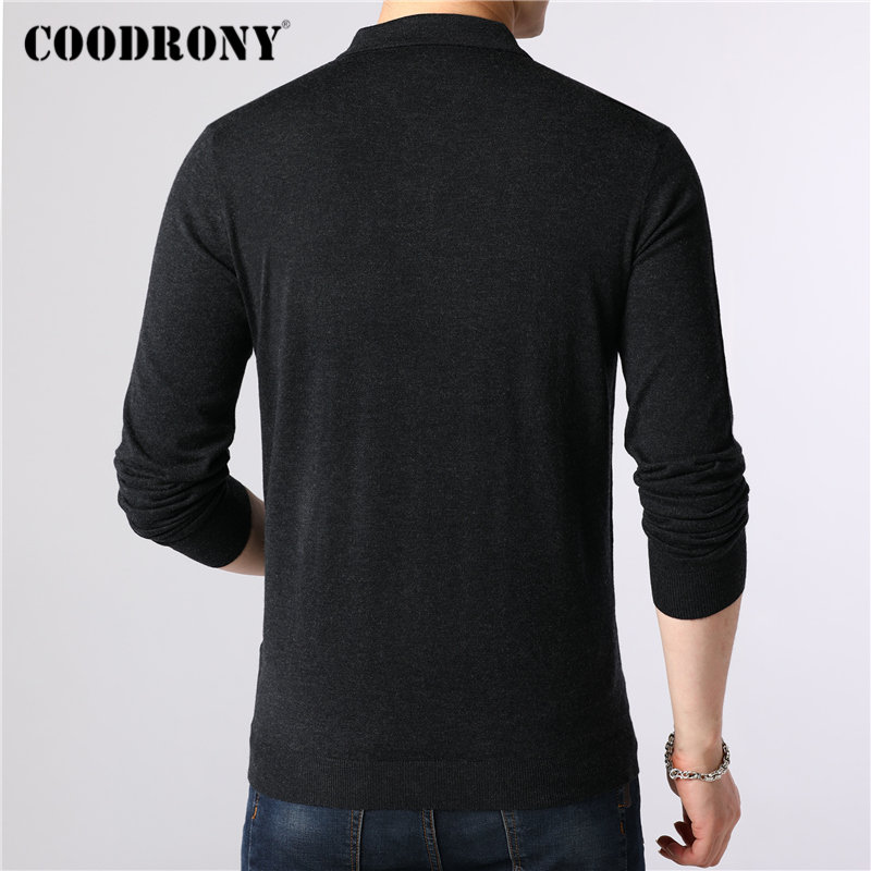 Image 3 - COODRONY Brand Sweater Men Classic Casual Turn down Collar Pull  Homme Cotton Wool Pullover Men Autumn Winter Soft Sweaters  91084Pullovers