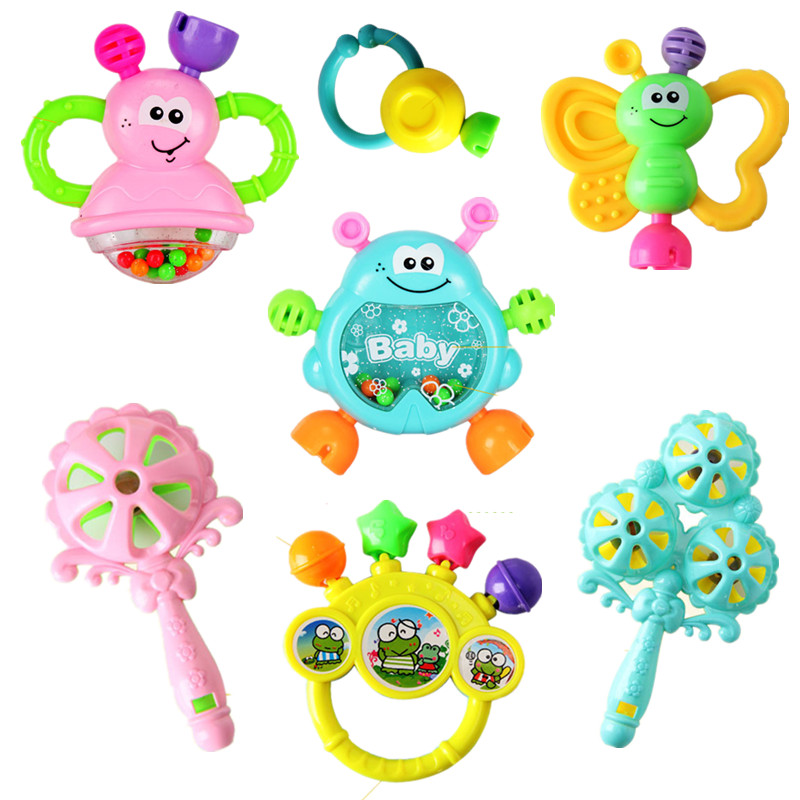 7pcs/Set Colorful Baby Rattle Teether Toys Teething Molar Kids Educational Toy 0-24 Month Toddler Appease Hand Bell Sensory Toys
