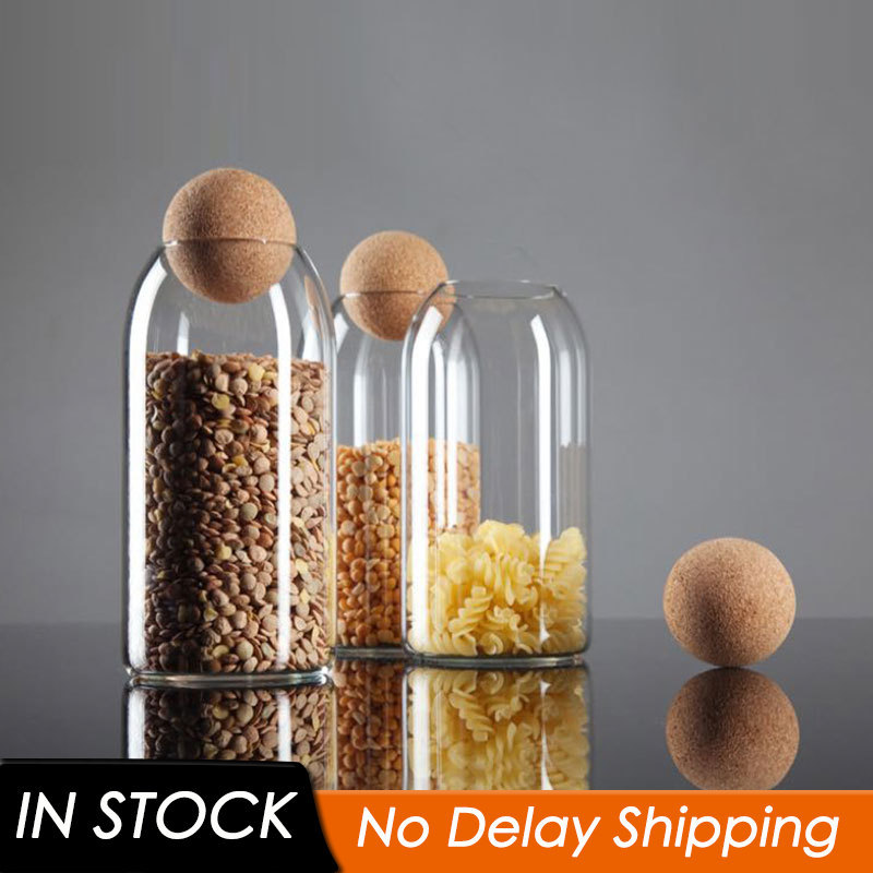 3 Size Transparent Spice Jar Glass Sealed Storage Bottle With Round Cork Mason Jar Tea Coffee Storage Tank Food Grains Container