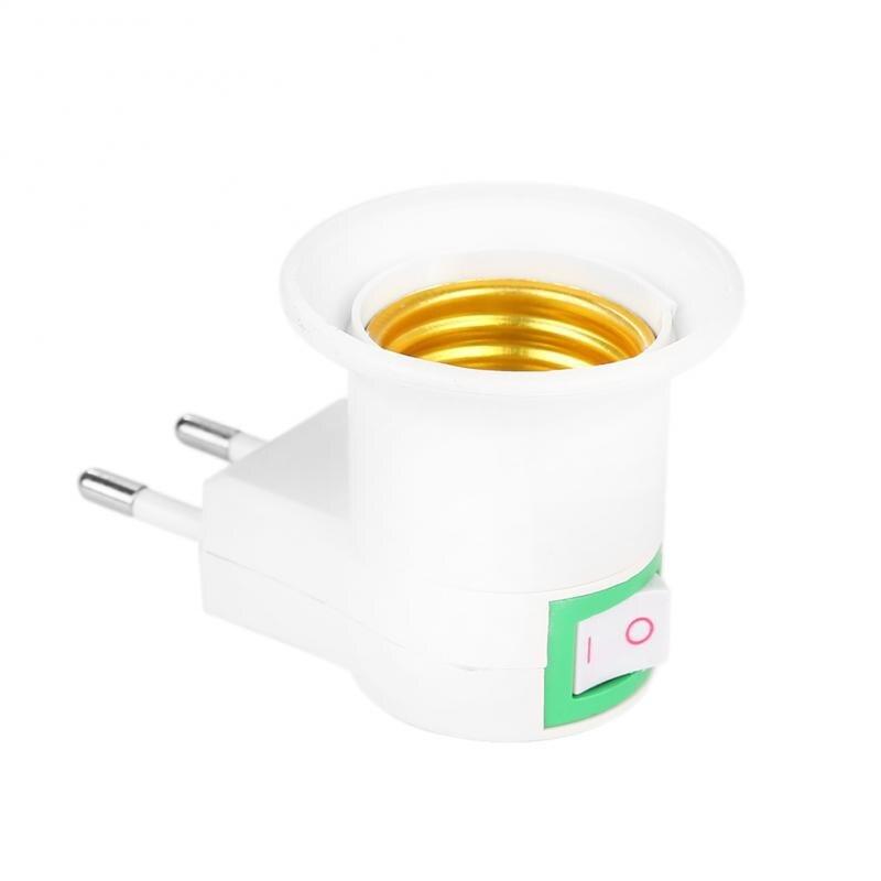 1Pcs E27 220V Lamp Holder With Socket EU Plug Adapter Converter ON/OFF Bulb Switch LED Light Lamp Bases Lighting Accessories