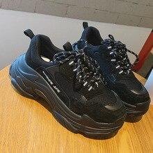 Chunky Dad Shoes 2019 New Women Snekaers Fashion Platform Sneakers Black Shoes W