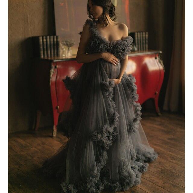 Dark Grey Maternity Dresses Tiered Ruffled Maternity Gown for Photoshoot Boudoir Lingerie Tulle Bathrobe Nightwear Babydoll Robe 1