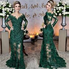 Emerald Green Gown Evening Dresses Sheer Jewel Neck Lace Appliques Long Sleeve Mermaid Formal Prom Dresses
