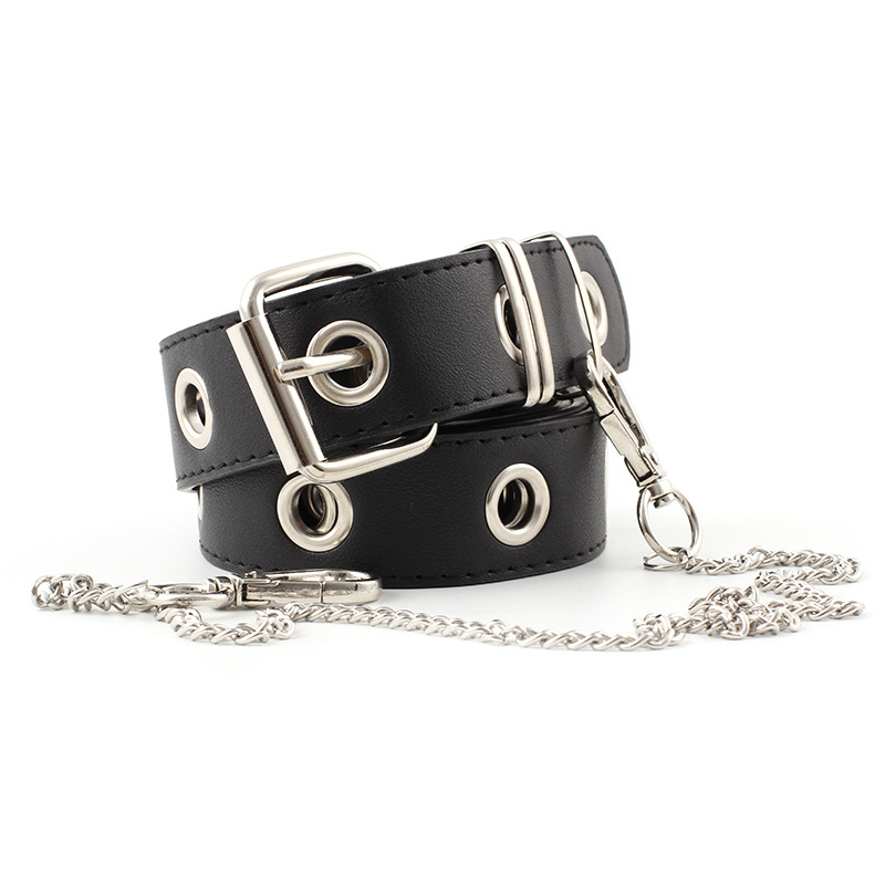 Eyelet Rivets Chain Pin Buckle Belt Punk Style Jeans PU Leather Belt Teenage Students Fashion Casual Waistband P102