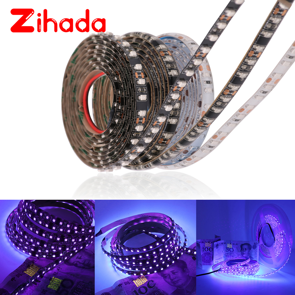 DC12V <font><b>UV</b></font> <font><b>Led</b></font> <font><b>Strip</b></font> Light 2835 SMD 60leds/m IP65 Waterproof Ultraviolet Ray <font><b>LED</b></font> Diode Ribbon Purple Flexible Tape Lamp 5m/roll image