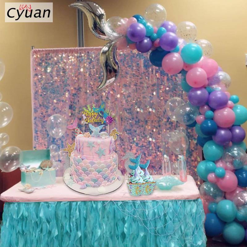 Fontes Do Partido da sereia Sereia Cauda Balão Guirlanda Conjunto Kit Ferramenta de Bolo Topper Sereia Arco De Balões de Aniversário Da Sereia para Meninas