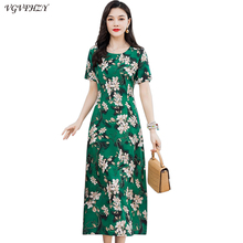 Maxi Dress Short-Sleeve Vestido Floral-Print Fashion Casual Women Summer Cotton Middle-Aged