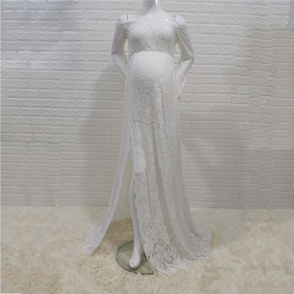 Sexy Shoulderless Maternity Dresses For Photo Shoot Lace Fancy Pregnancy Maxi Gown Baby Shower Pregnant Women Photography Props (4)