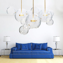 Wongshi nowoczesne jasne szkło Led lampa wisząca mydło kula kąpielowa oprawy oświetlenie wewnętrzne Lustre luminaria wisząca sypialnia