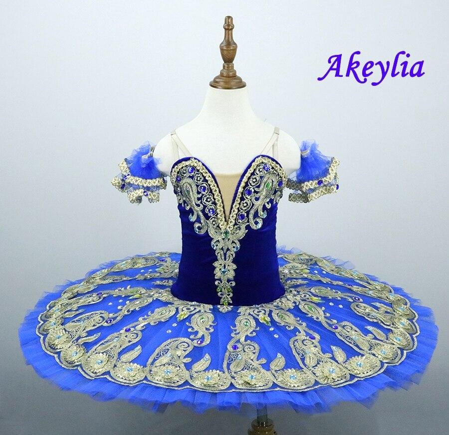 Blue Bird Ballet Tutu Girls Royal Blue Pancake Tutu Platter Performance Sugar Plum Fairy Professional tutu Dress sleeping beauty