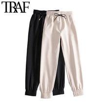 TRAF kobiety Chic moda boczne kieszenie spodnie do joggingu Vintage wysoki elastyczny sznurek do ściągania talii kobiece spodnie do kostki Mujer