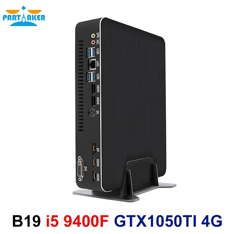 Partaker B19 Gaming Computer I5 9400F GTX1050TI 4GB Dedicated Card DDR4 Mini PC Windows 10 Desktop PC 2*HDMI 2.0 1*DP 1*DVI
