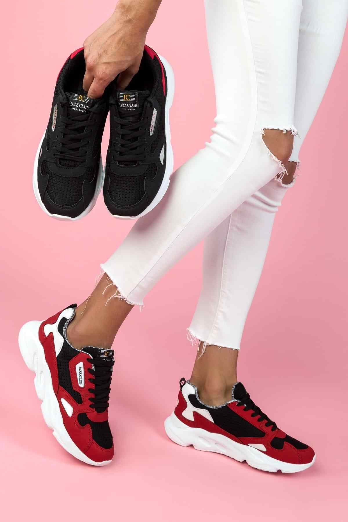 womens black and red trainers Shop
