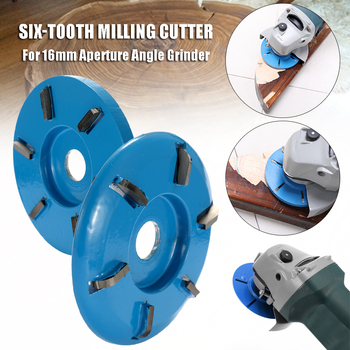 90mm Diameter 16mm Bore Power Wood Carving Disc Milling Cutter Attachment Three Six Teeth Arc/Flat for Angle Grinder Attachment 1