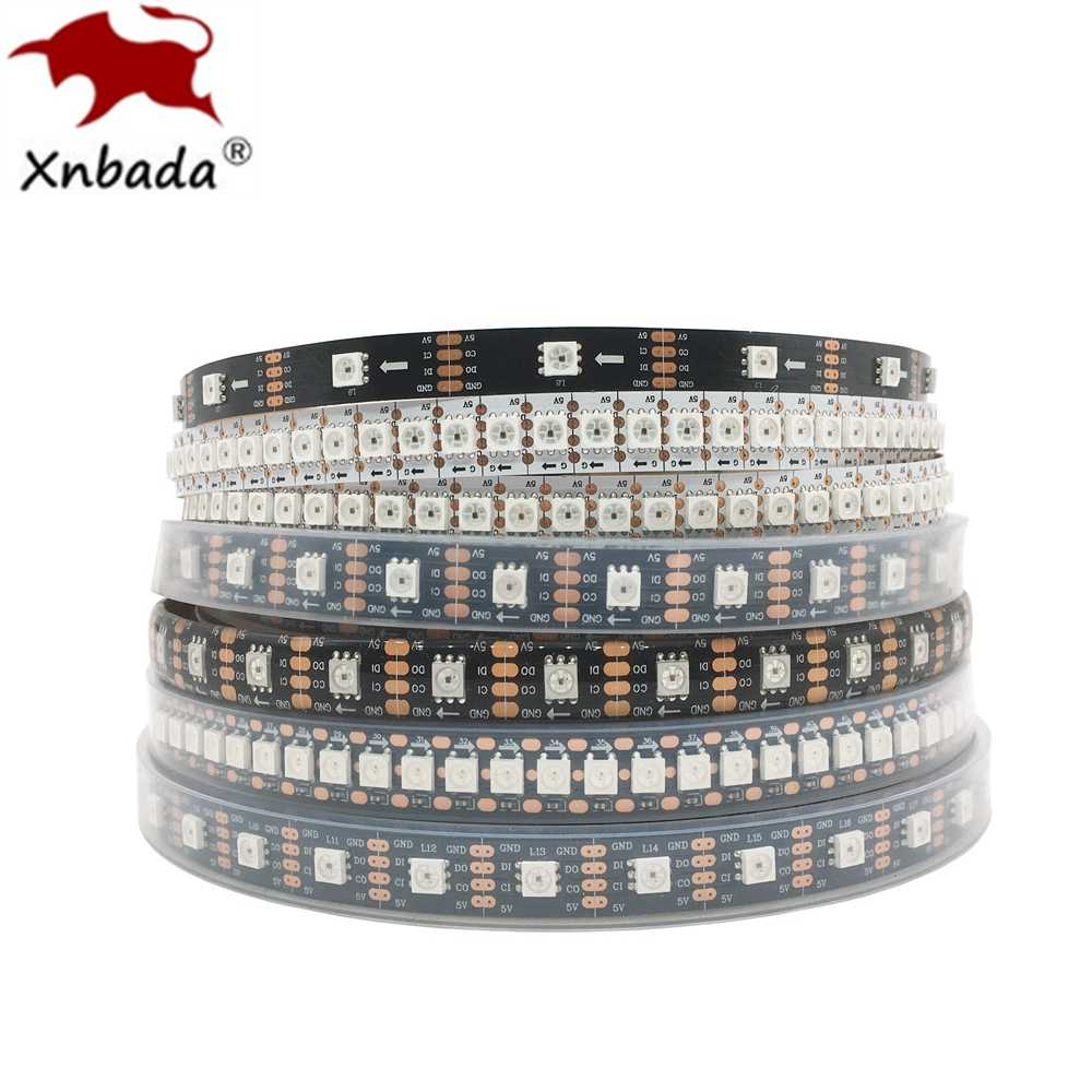 APA102 SK9822 24/30/60/72/96/144 LED/Piksel/M Smart RGB pixel LED Strip Data dan Jam Secara Terpisah DC5V IP30/IP65/IP67