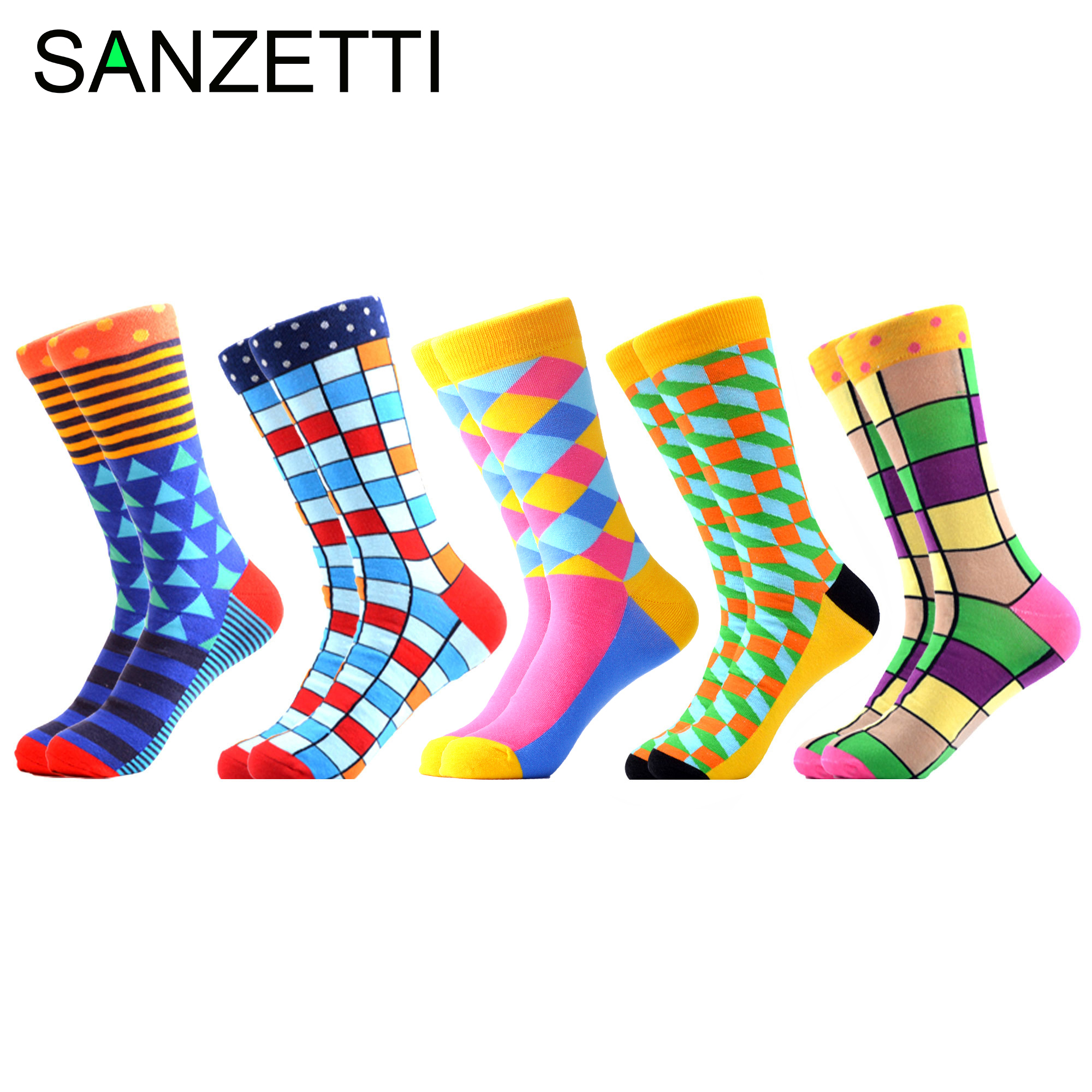 SANZETTI Combed Cotton Men Socks Funny Crew Colorful Grid Multi Comfy Dress Casual Sock Happy Winter Novelty Party Gifts Socks