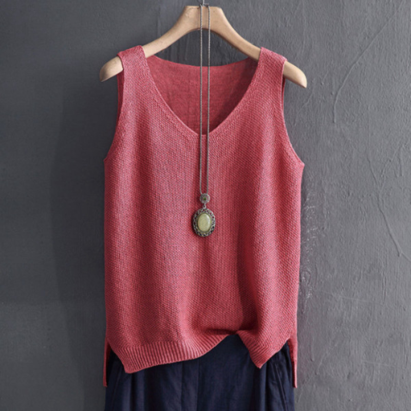 Knitted Tank Vests Women Top O-neck Solid Fashion Female Sleeveless Casual Thin Tops Summer Knit Woman Shirt Gilet Femme 2020