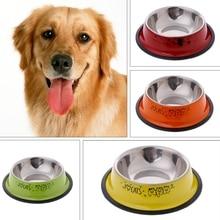 Многоцветная противоскользящая миска из нержавеющей стали для кошек и собак, инструмент для кормления домашних животных