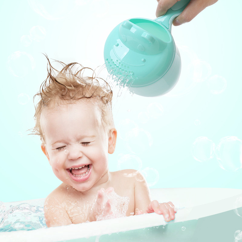 Cute Cartoon Baby Shower Bath Spoon Head Watering Bottle Todder Kids Wash Hair Bailer Shampoo Cup & Cap Infant Care Tool