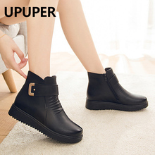 UPUPER Black Wedge Womens Winter Boots Non-slip Warm Fur Ankle Boots Wo