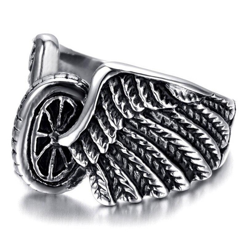 FDLK Eagle Wings Motorcycles Tire Biker Design Fashion Motor Biker Men Ring Jewelry Wholesale