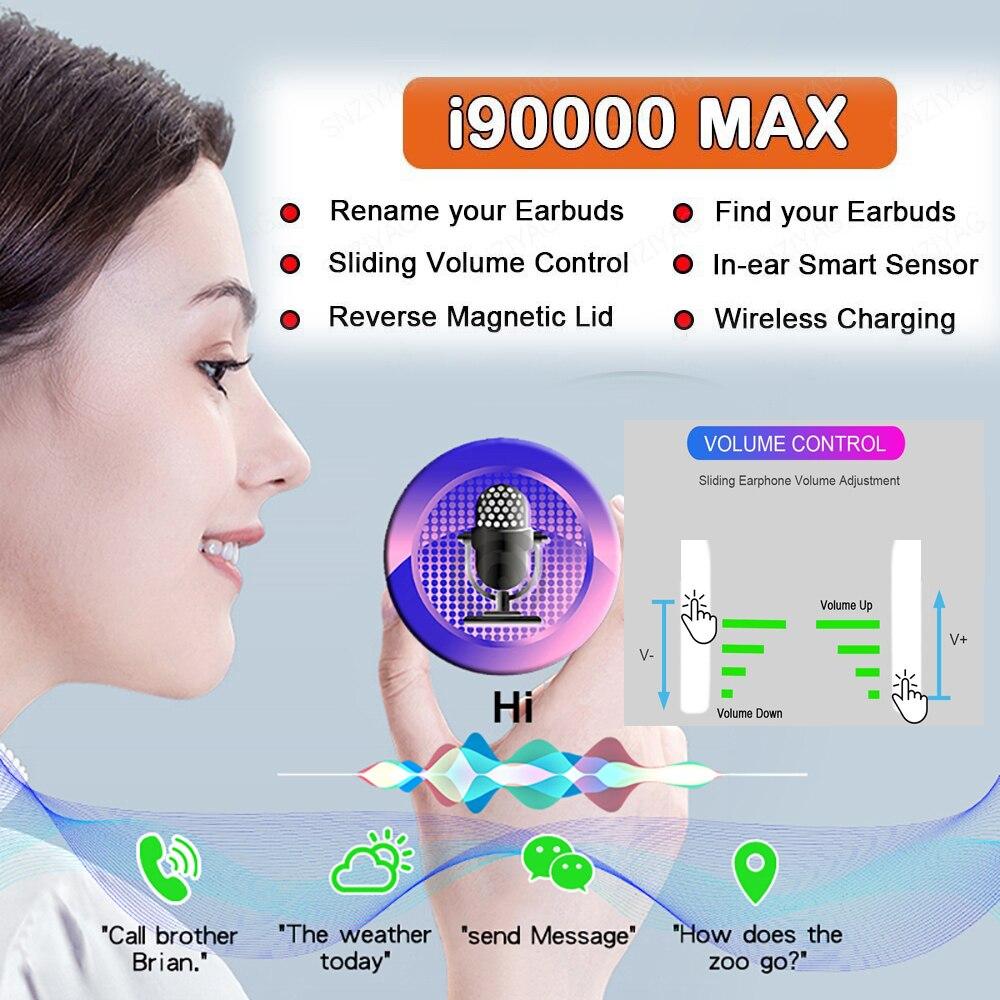 I90000MAX TWS Arie 2 sans fil écouteur 8D Super basse Bluetooth 5.0 écouteur coulissant réglage du Volume écouteurs PK i5000 i9000tws