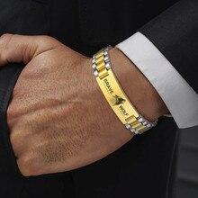 Pulsera de identificación de METAL de lujo, pulsera de grabado personalizado, regalo para él, 10MM-15,5 MM