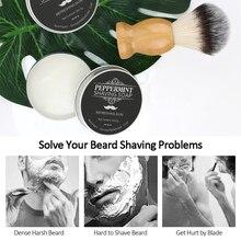 60g Mint Scented Men's Shaving Soap Shaving Cream Aluminum Boxed Foam Rich Gentle Handmade Shave Soap Shave Beard Cream