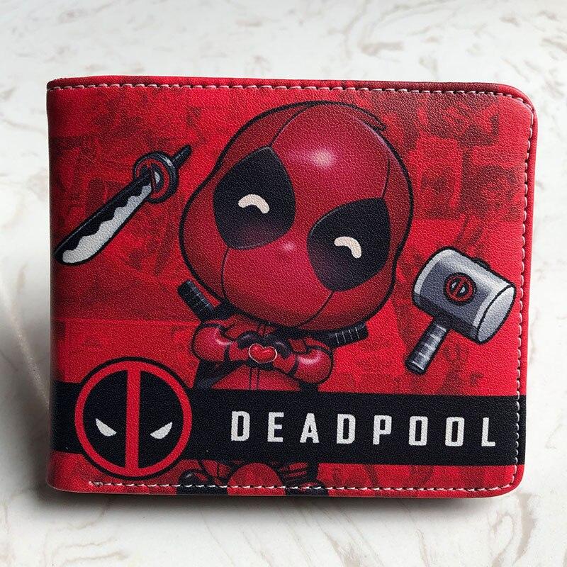 Бумажники Marvel Super Hero, кожаный кошелек с отделением для карт и рисунком из мультфильма «Аниме», «Дэдпул», «Капитан Америка», детский короткий кошелек в подарок