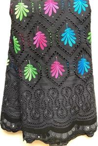 Image 3 - Encaje de gasa suizo con diseño de algodón puro en Suiza con piedras, tela de encaje seco africano, tela nigeriana de alta calidad para boda HLL4570