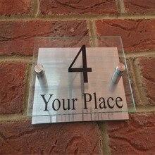 Современный знак на дом табличка номер двери улица стекло эффект акриловый Алюминий имя