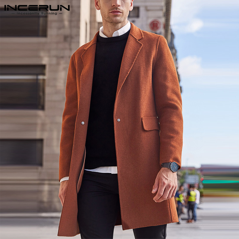 INCERUN 2020 Winter Men Coats Streetwear Solid Faux Wool Blends Overcoats Long Sleeve Fashion Jackets Chic Lapel Men Trench 5XL