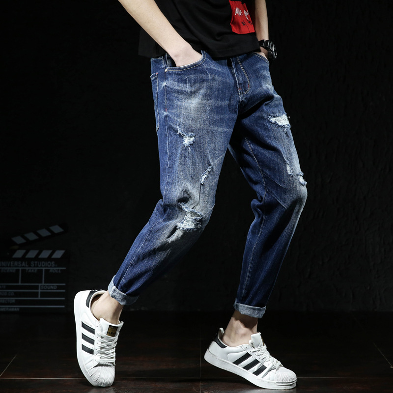 2018 Spring And Summer Thin Elasticity Skinny Capri Jeans Men's Slim Fit With Holes Large Size Men'S Wear 9 Pants 501