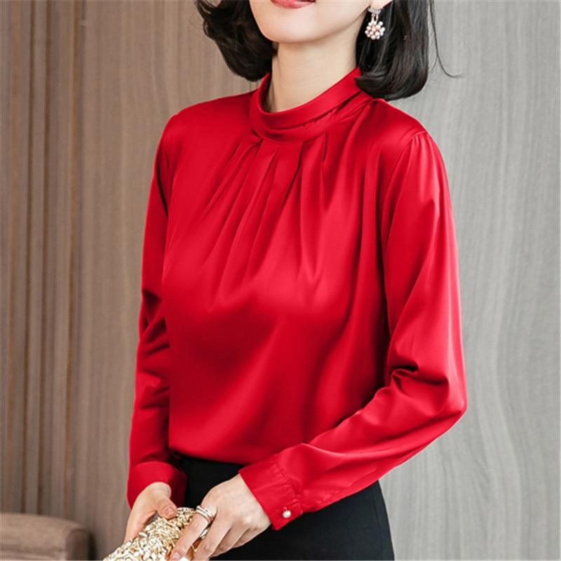 Korean Fashion Women Silk Shirts Women Satin Blouse Shirt Blusas Mujer De Moda Women Blouses Elegant Women Silk Shirt Plus Size
