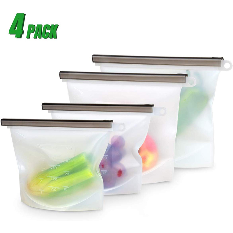 4 Pack Leak Proof Silicone Food Storage Bag Stand Up Reusable Food Grade Vegetable Storage Container For Fruits Vegetables Meat