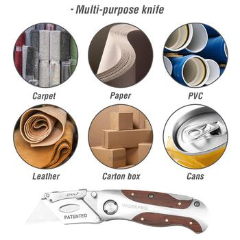 WORKPRO Folding Knife Heavy Duty Knife Pipe Cutter Stainless Steel Utility Knife with Red Rosewood Handle 4