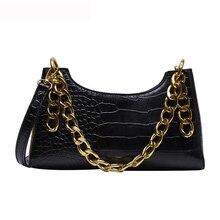 Frauen Leder Handtaschen Luxus Marke Crossbody Totes 2020 Neue Mode Alligator Großen Kette Baguette dame Schulter Messenger Taschen
