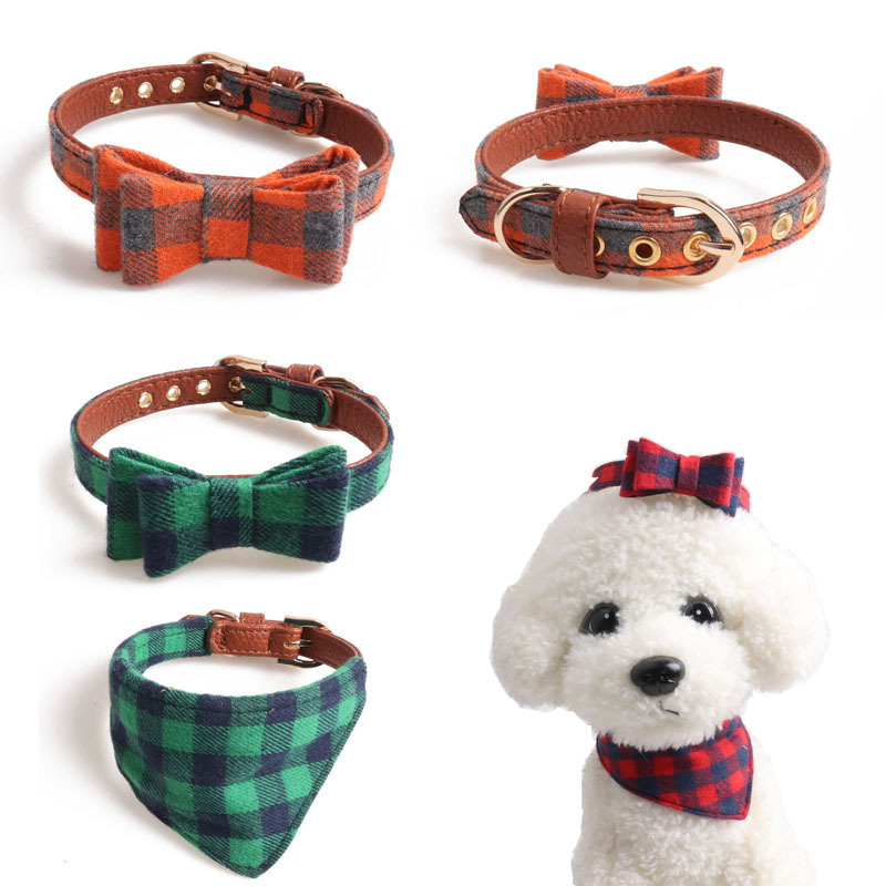 Jin Jie Te 2019 New Products British Style Pet Plaid Neck Ring Dog Neck Ring Cat Neck Ring