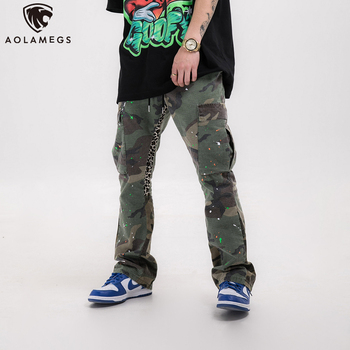 Aolamegs Men Pants Leopard Camouflage Patchwork Flare Drawstring Pocket Cargo Trousers High Street Fashion Streetwear