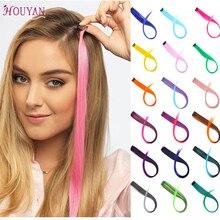 HOUYAN, 37 цветов, 50 см, один зажим, один кусок, накладные волосы, омбре, синтетические волосы, шиньоны для женщин, девушек, волосы с зажимами