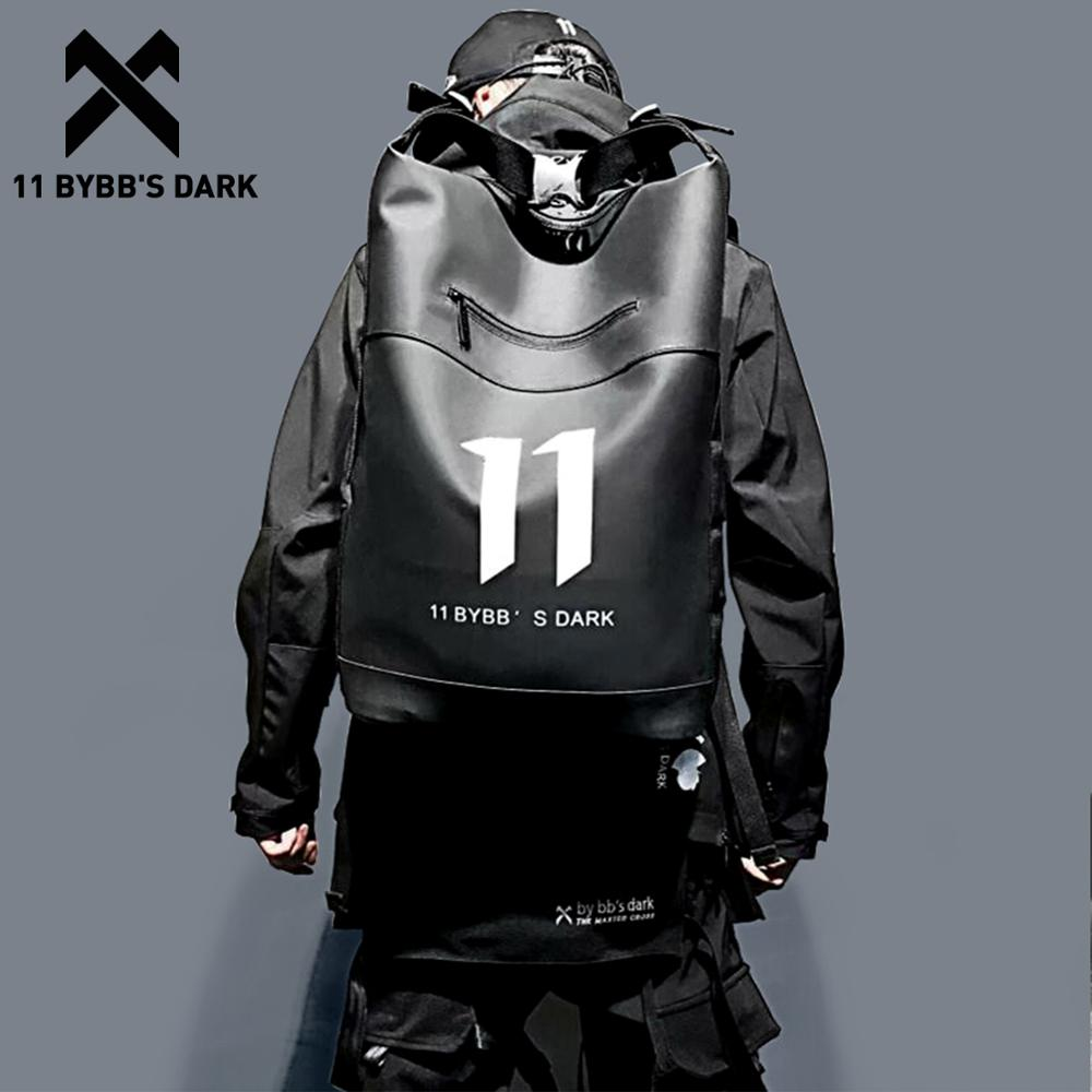 11 BYBB'S DARK Hip Hop Backpack Waterproof PU Multi-function School Computer Shoulder Bag Male Big Capacity Backpack Men Mochila