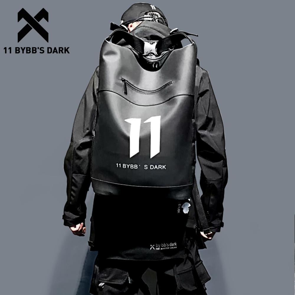 11 BYBB'S DARK Waterproof Hip Hop Backpack PU Multifunction School Computer Shoulder Bag Male Big Capacity Backpack Men Mochila