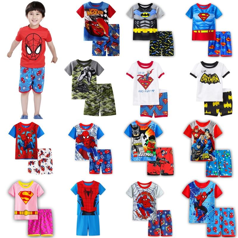 Children's Pajamas Summer Short-sleeved T Shirt + Shorts Sports Set Kids Pyjamas Boys Girls Pajamas Baby Sleepers Sleepwear 2-7T