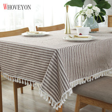 Simple Striped Tablecloth Plain Tassel Tablecloth Table Cloth Cotton Linen Tablecloth Cover Towel Obrus Tafelkleed Mantel Mesa