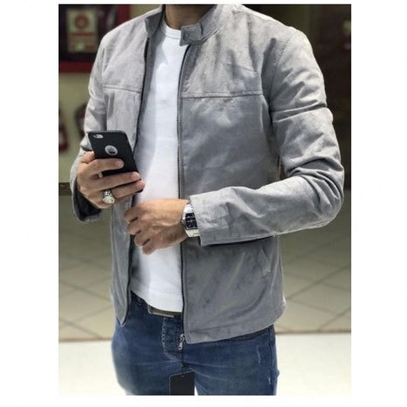 Mens Coats And Jackets 2019 New Men's Suede Jacket Casual Turn-down Collar Solid Zipper Long Sleeve Mens Jacket Men Clothes