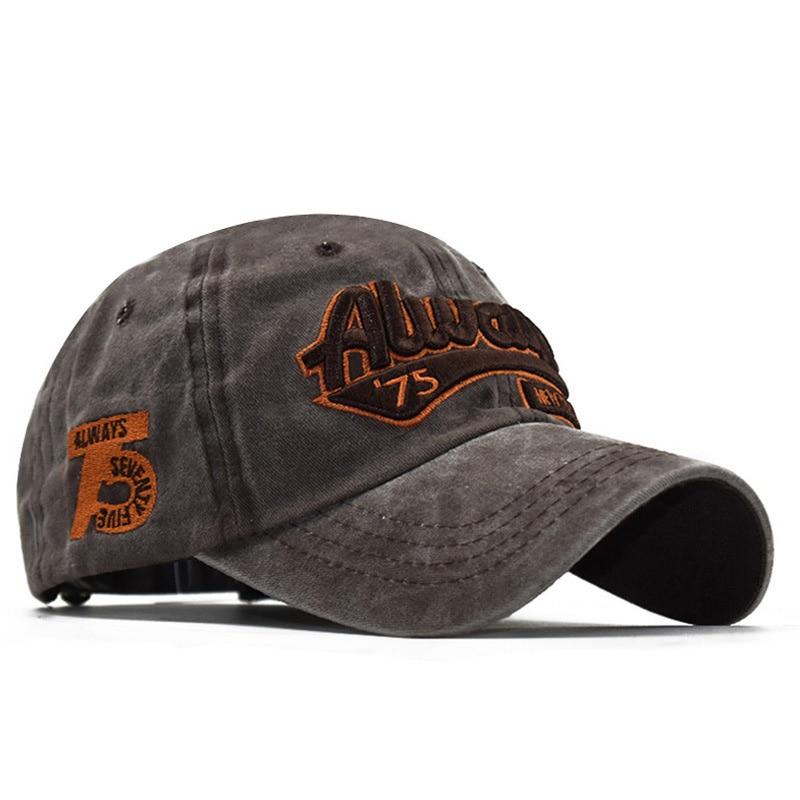 Washed Cotton 3D Embroidery ALWAYS 75 Letter Baseball Cap, Ladies Dad Hat, Men's Bone Cap