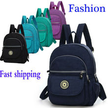 2019 New Nylon Small Women Backpack Pure Color Travel Bag Fa