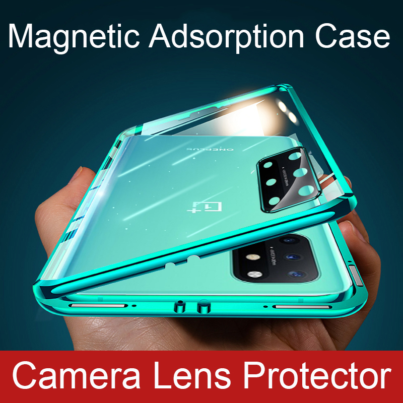 360 tam manyetik kılıf için Oneplus 8T Coque kamera Lens koruyucu cam kapak alüminyum Metal tampon Oneplus 8 Pro telefon kılıfı
