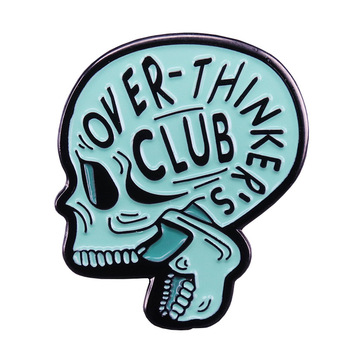 Over-thinkers Club Enamel Pin and Brooch Anxiety OCD Mental Health Lapel Pin Jewelry Halloween Gothic Gifts image